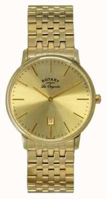 Rotary Mens Kensington les originales gouden plaat horloge GB90052/03