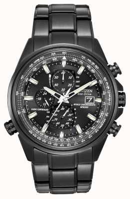 Citizen Mens zwart-ion-plated staal wereld tijd chronograaf horloge op AT8025-51E