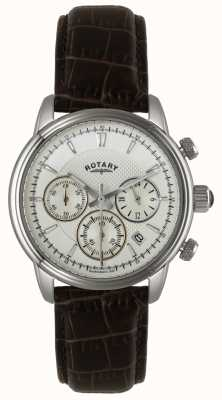 Rotary Heren roestvrij stalen wijzerplaat zwart lederen horloge GS02876/06