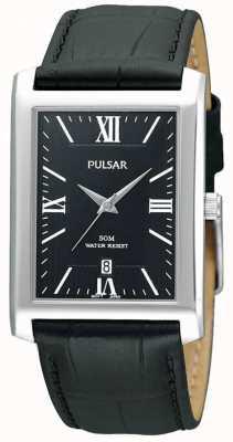 Pulsar Mens roestvrij staal zwarte rechthoekige wijzerplaat lederen horloge PXDB71X1