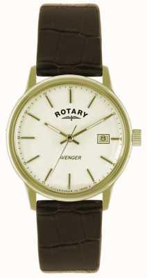 Rotary Avenger heren gouden plaat riem horloge GS02876/03