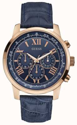 Guess Mens horizon rose goud & blauw chronograaf W0380G5