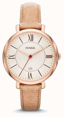 Fossil Ladies 'jacqueline, rose goud, beige band horloge ES3487