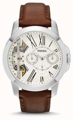 Fossil Mens verlenen witte wijzerplaat bruine lederen band horloge ME1144
