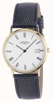 Rotary Mens 9ct gouden kast band horloge GS11476/01