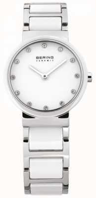 Bering Dames witte keramische quartz analoog horloge 10729-754
