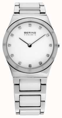 Bering Dames zilveren keramische quartz analoog horloge 32230-764