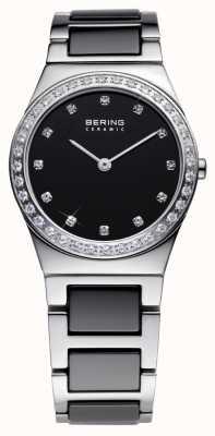Bering Dames zwarte keramische quartz analoog horloge 32430-742