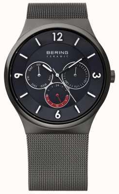 Bering Heren grijs staal keramische mesh zwarte wijzerplaat band horloge 33440-077
