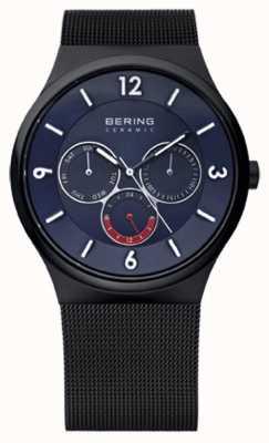 Bering Mens Black ip stalen keramische blauwe mesh wijzerplaat band horloge 33440-227