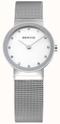 Bering Tijd dames zilveren mesh horloge 10126-000