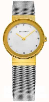 Bering Tijd dames zilveren mesh horloge 10126-001