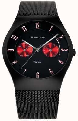 Bering Mens titanium zwart rood accent mesh band horloge 11939-229