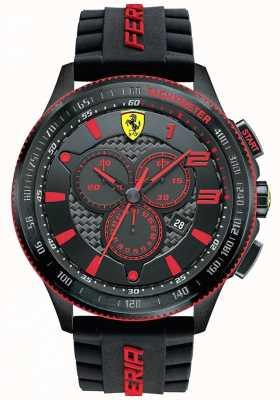 Scuderia Ferrari Mens xx zwart ip staal rood accent chronograaf 0830138
