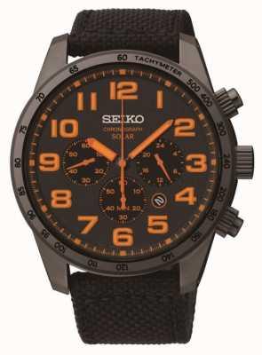 Seiko Mens Black ip stalen oranje detail canvas riem horloge SSC233P9