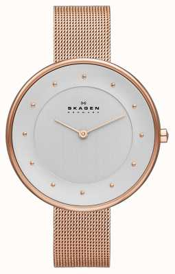 Skagen Dames klassik rose goud mesh horloge SKW2142