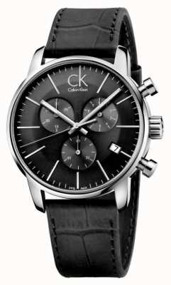 Calvin Klein Mens Black & roestvrij staal lederen band horloge K2G271C3