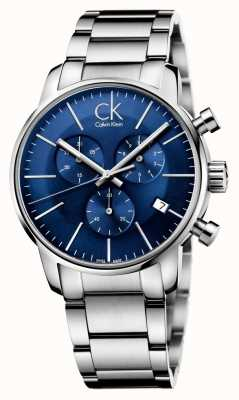 Calvin Klein Heren RVS blauwe wijzerplaat stad chronograaf K2G2714N
