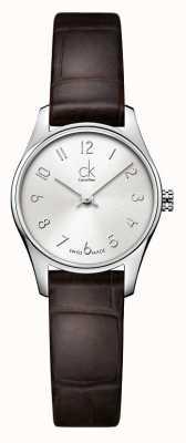 Calvin Klein Dames klassieke zilveren bruine horloge K4D231G6