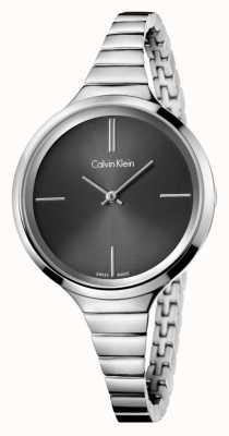 Calvin Klein Dames levendige zwarte zilveren horloge K4U23121