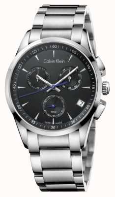 Calvin Klein Heren RVS chronograaf zwarte wijzerplaat K5A27141