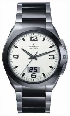 Junghans Mens, Spektrum mega zonne-energie, staal en zwarte keramische horloge 018/1423.44