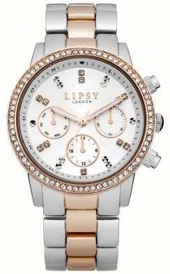 Lipsy Dames wit en twee toon armband horloge LP161