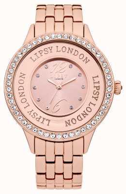 Lipsy Vrouwen roosband armband horloge met rooskleurige kristal set LP140