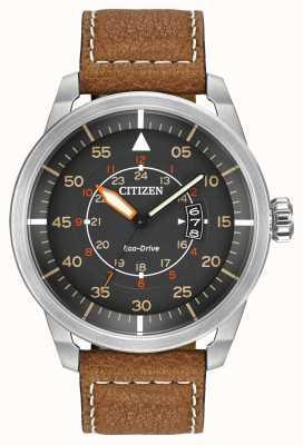 Citizen | heren eco-drive avion wr100 | bruine lederen band | AW1361-10H
