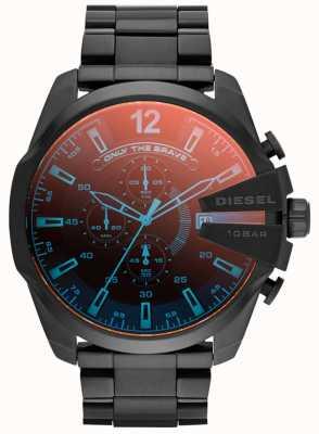 Diesel Heren mega leider, zwart ip staal, iriserende horloge DZ4318