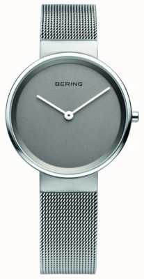 Bering Womens klassieke, mesh, grijze wijzerplaat, stalen horloge 14531-077