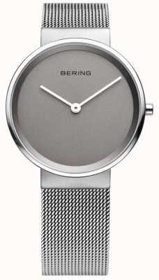 Bering Mens klassiek, mesh, grijze wijzerplaat horloge 14539-077