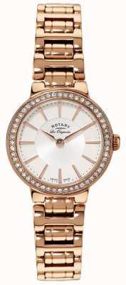 Rotary Dames les originales, gouden plaat, kristal set horloge LB90085/02