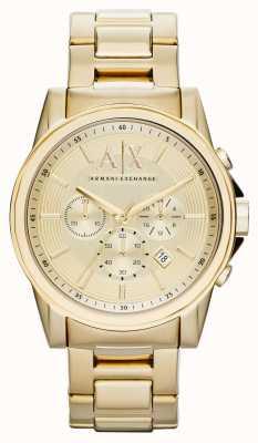 Armani Exchange Mens chronograaf smart goud pvd verguld AX2099