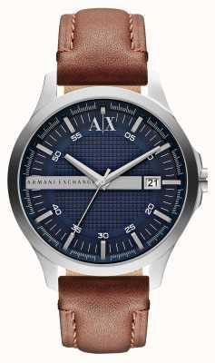 Armani Exchange Mannen date lederen band horloge AX2133