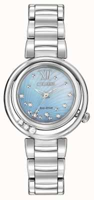 Citizen Eco-drive sunrise l dames diamant blauwe wijzerplaat EM0320-59D