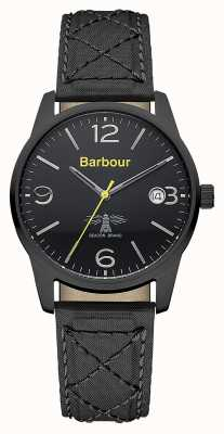 Barbour Mens alanby zwart lederen band horloge BB026BKBK