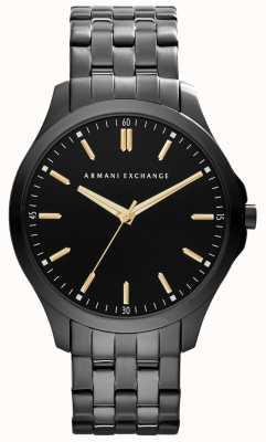 Armani Exchange Mens slimme ip vergulde zwarte wijzerplaat gouden accenten AX2144