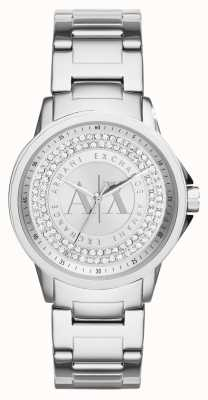 Armani Exchange Vrouwen stedelijke kristal set roestvrij stalen armband AX4320