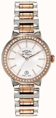 Rotary Womens les originales roségoud stalen kristal gezet horloge LB90083/02