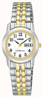 Lorus Tweekleurige roestvrij stalen armband | zilver / goud horloge | RXU11AX9