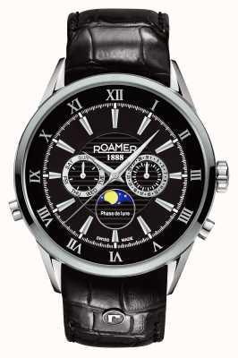 Roamer Mens maanfase, zwarte wijzerplaat, zwarte lederen horloge 508821415305