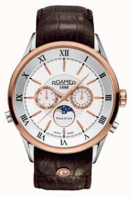 Roamer Mens maanfase, rose goud / staal, bruin lederen horloge 508821491305