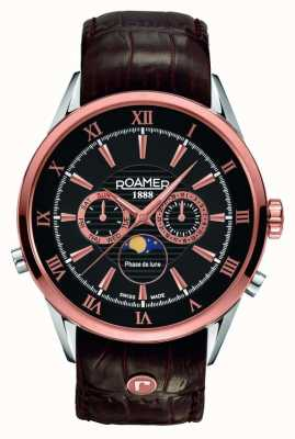 Roamer Mens maanfase, rose goud, horloge zwarte wijzerplaat 508821495305