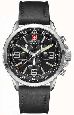 Swiss Military Hanowa Heren roestvrij staal, zwarte wijzerplaat, zwarte leren chronograaf 6-4224.04.007