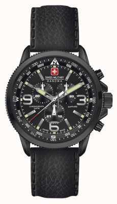 Swiss Military Hanowa Mens pijl, zwart ip staal, zwart lederen chrono 6-4224.13.007