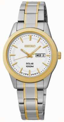 Seiko Dames dag / datum display horloge tweekleurig SUT162P1