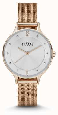 Skagen Dames anita rose goud mesh horloge SKW2151