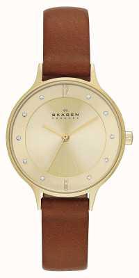 Skagen Ladies anita vergulde bruine band horloge SKW2147