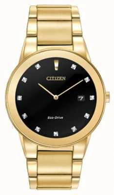 Citizen | mens axioma eco-drive | diamanten set zwarte wijzerplaat | AU1062-56G